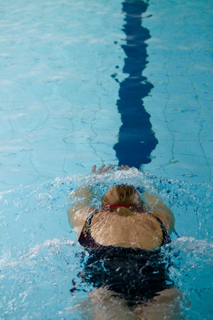 Adult swimming in the pool at the leisure centre