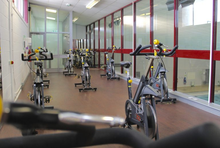 Spinning bikes in a spin studio
