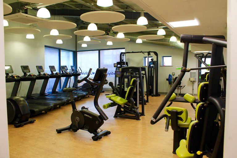 Cardio equipment in a studio gym